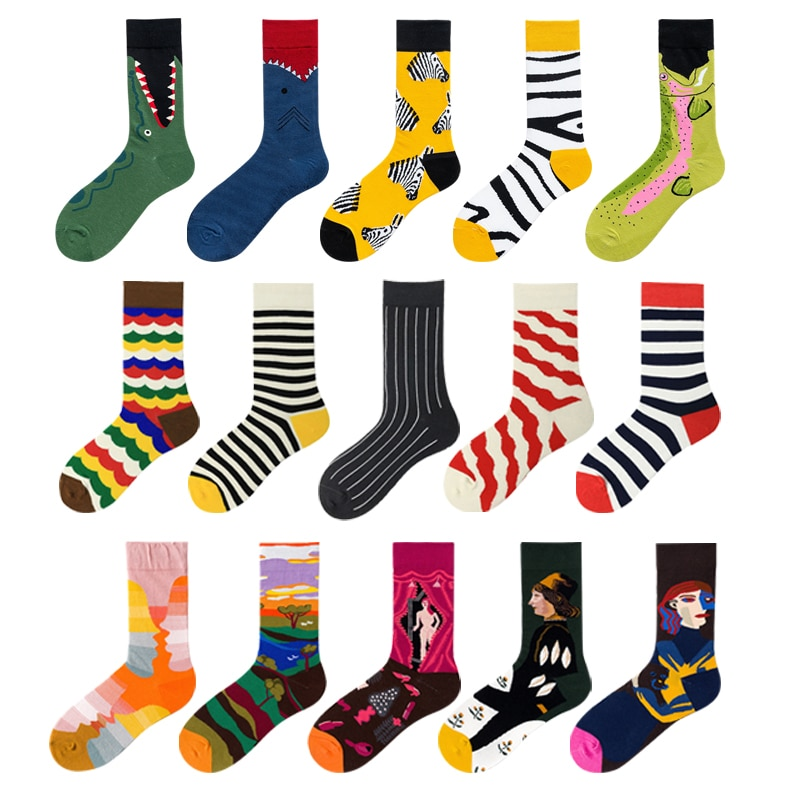 Novelty Funny Men Graphic Socks Combed Cotton Oil Painting Stripes Japanese Harajuku Fashion Long Crew Shark Sock Christmas Gift