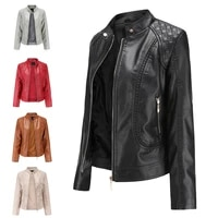 new 2021 spring and autumn womens leather jacket womens large size stand collar pu leather womens leather jacket