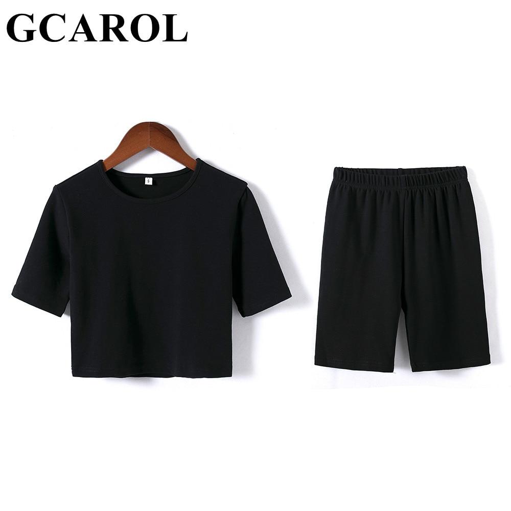 GCAROL Summer Women'sets 2 Pcs Sexy Sport T-shirt And Bike Shorts Legging Running Fitness Yoga Stretch Tees Bodybuilding Pants