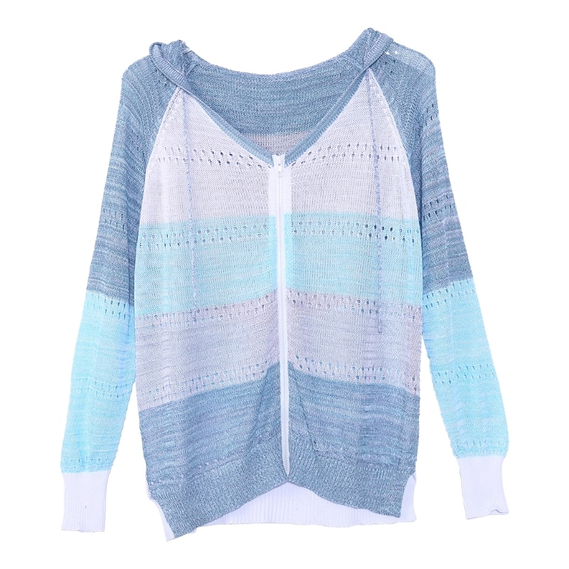 Women Plus Size Hollow Out Knitted Hoodie Sweater Raglan Long Sleeve Drawstring Jacket Color Block Striped Full Zip Up Cardigan