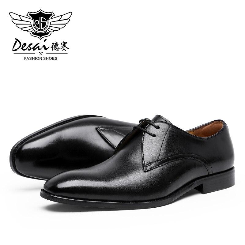 DESAI-أحذية جلدية أصلية للرجال ، أحذية غير رسمية للعمل ، نعل إسفين ، شقق