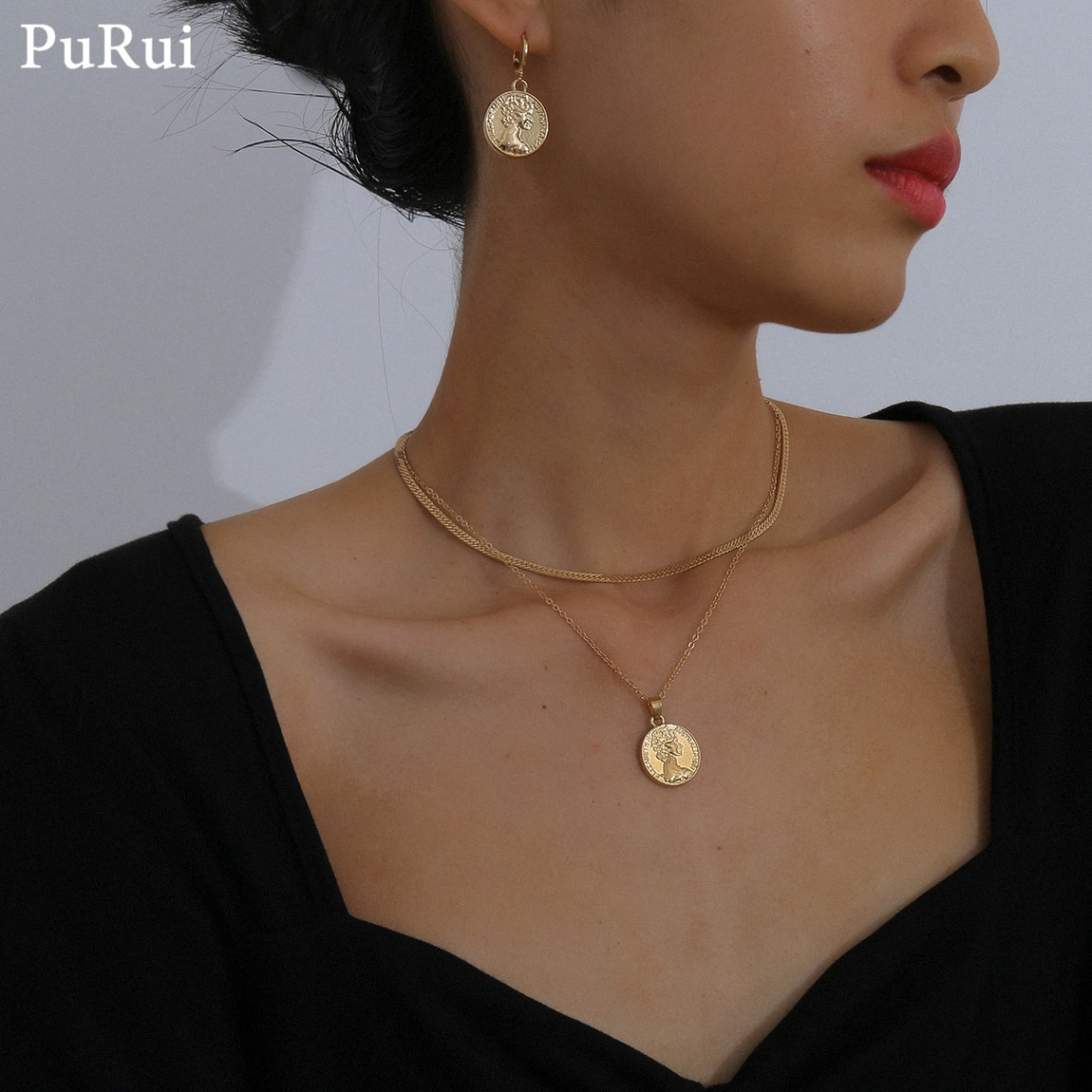 Purui gótico do vintage pingente colar conjunto para mulheres punk cubana link corrente cor ouro gargantilha colar acessórios presente jóias
