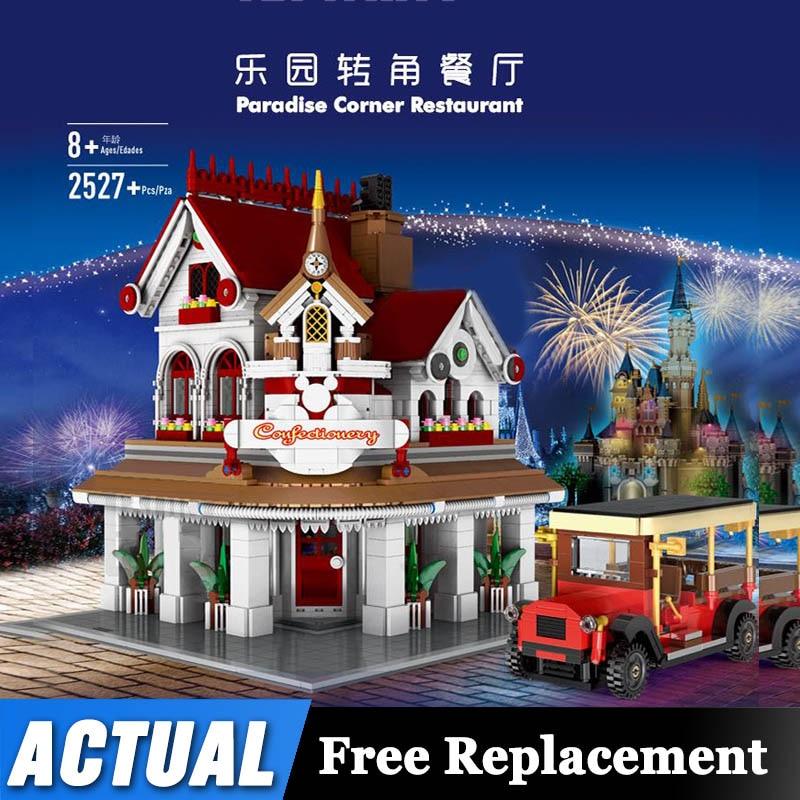 Creator Street View Corner Diner Set Building Blocks Compatible Lepinblocks 10260 Restaurant Kids Assembly Toys