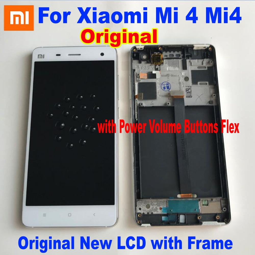 100% Original Best Working LCD Display Touch Panel Screen Digiziter Assembly Sensor + Frame For Xiaomi 4 mi4 Mi 4 Phone Pantalla