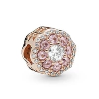 genuine 925 sterling silver charm rose gold pink sparkle flower with crystal beads fit pan bracelet necklace diy jewelry