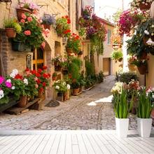 Paysage De rue européenne personnalisé papier peint Mural fleur pleine peintures murales imprimé décor à la maison Photo papier peint Papel De Parede 3D