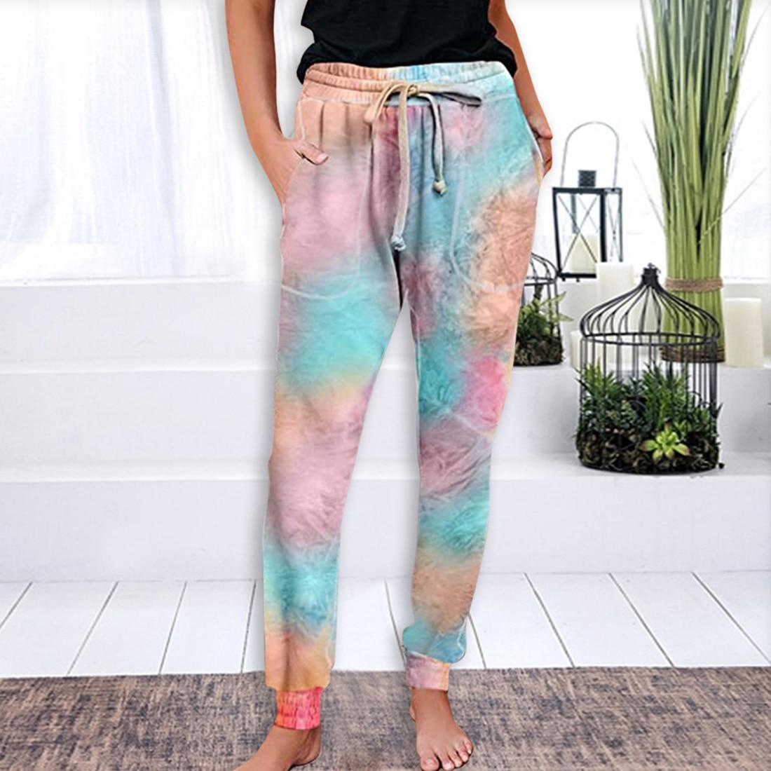 Pantalones LASPERAL de verano para mujer, pantalones elásticos de cintura alta, pantalones teñidos de corbata a la moda, pantalones casuales sueltos para mujer
