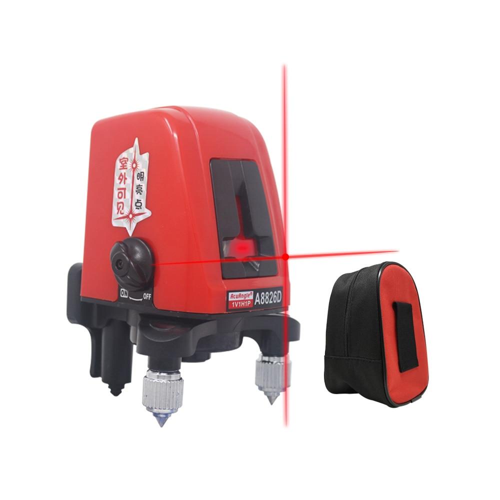 A8826D лазерный уровень вращение на 360 градусов 2 Красные линии 1 точка самонивелирующийся вертикальный горизонтальный крест Лазерные уровни ш...