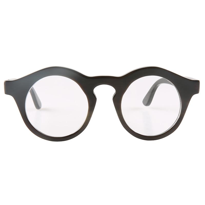 Vintage negro redondo hecho a mano natural cuerno de búfalo gafas ópticas gafas de lectura cuerno gafas de sol