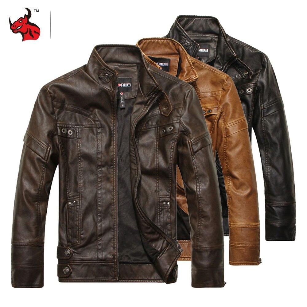 Chaqueta de cuero de PU para motocicleta, chaqueta Retro Vintage para hombre, chaqueta para Moto, abrigo ajustado para invierno a prueba de viento, chaqueta para Motociclista