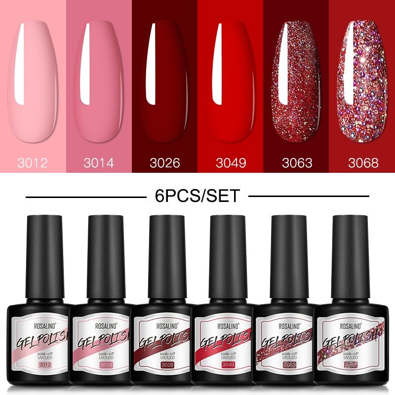 ROSALIND Gel Nail Polish Set 4/6PCS Mix Color Nail Kit For Manicure Nail Polish Vernis Semi Permanen