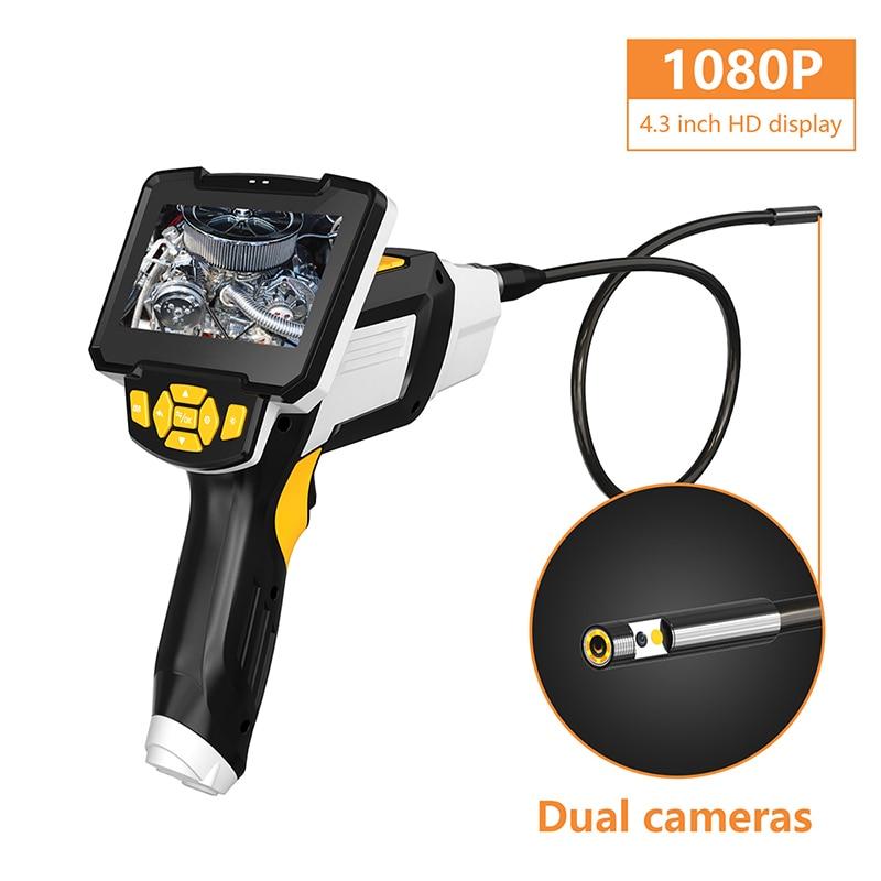Двойной объектив Ручной эндоскоп камера 1080p 8 мм дренажная труба Инспекционная камера бороскоп видеоэндоскоп с экраном 4,3