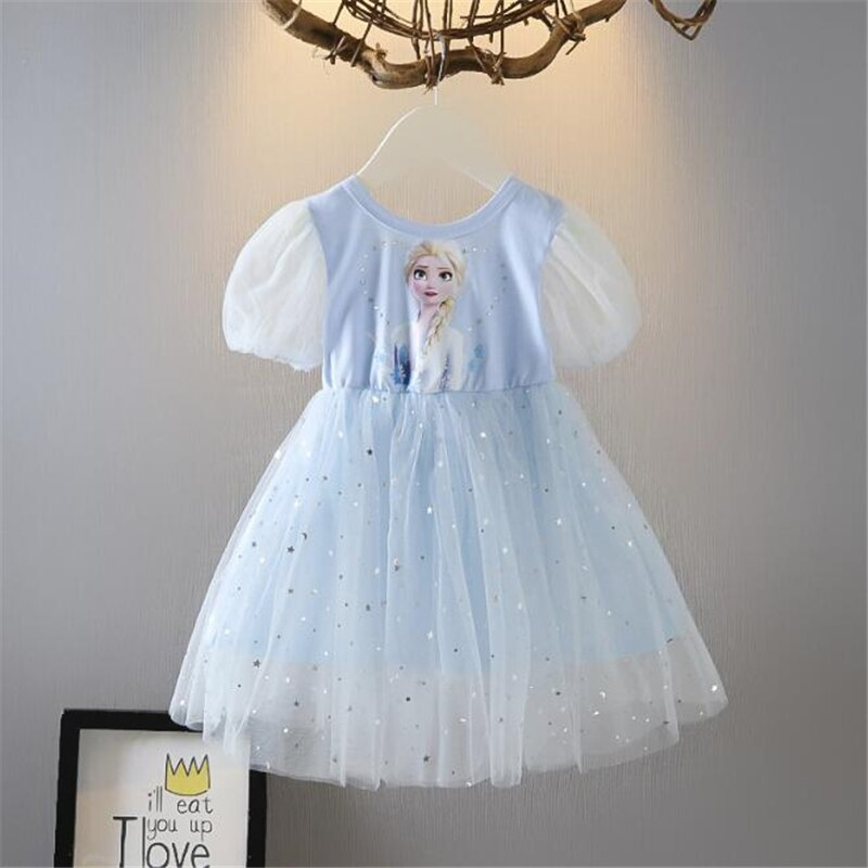 Frozen Girl Dresses Summer Mesh Princess Dress Cartoon Print Elsa Princess Cosplay Costume Party Dress Baby Girls Kids Clothes