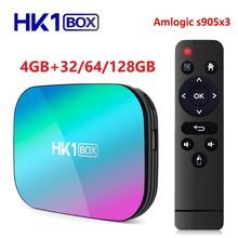 Приставка Смарт ТВ HK1 Amlogic S905X3, Android 9,0, 4 + 32/64/128 ГБ, 2,4 ГГц