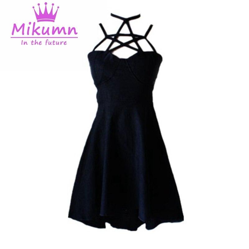 Gothic Punk Women Pentagram Hollow Out Sexy Black Dress