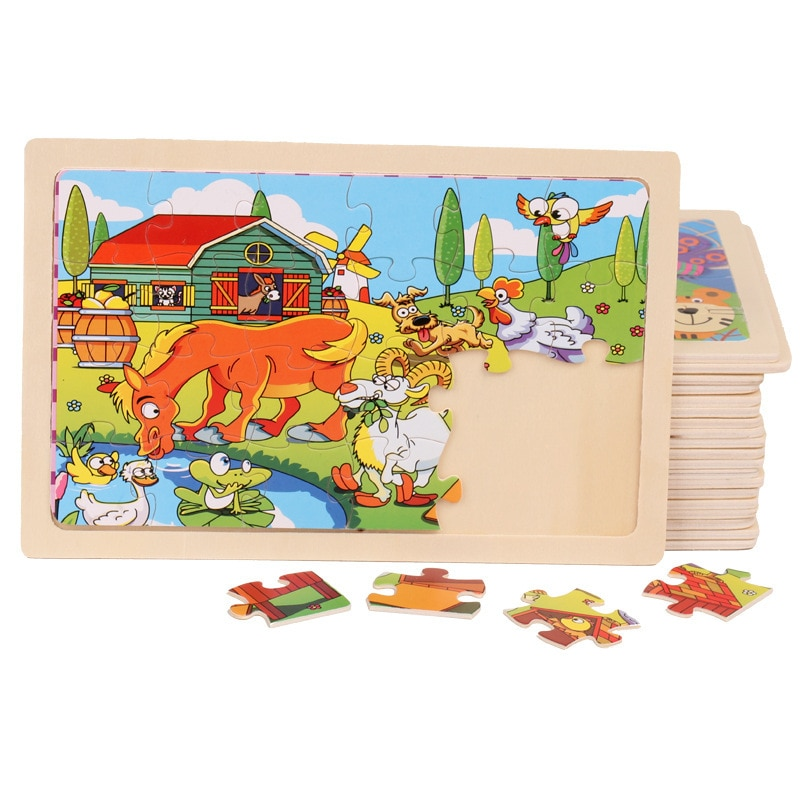 Wood Puzzles Children Parent-child animal Puzzles Wooden Toys Learning Education Environmental Assemble Toy Educational Games classic rainbow calculates circle wooden child wooden building blocks toys children wood education learning mathematics toys