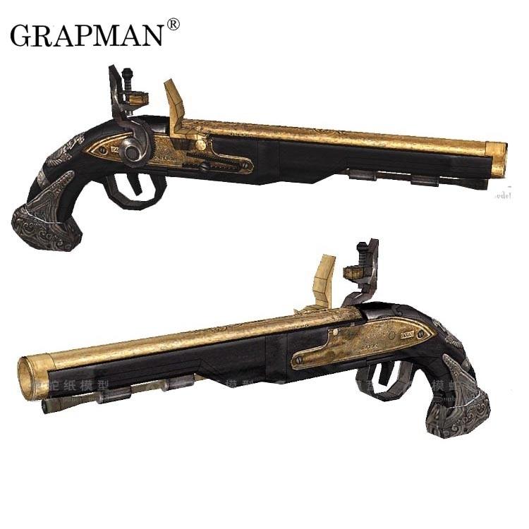 11 Piratas del Caribe Flintlock 3D papel modelo Arma rompecabezas Papercraft juguete hecho a mano
