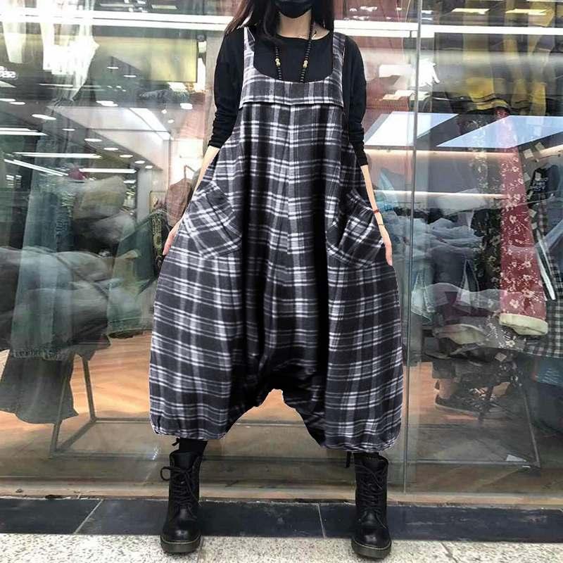 Vintage Check monos mujer Drop Crotch Jumpsuits ZANZEA Casual cuadrado cuello largo pantalón femenino pantalones elásticos monos 5XL