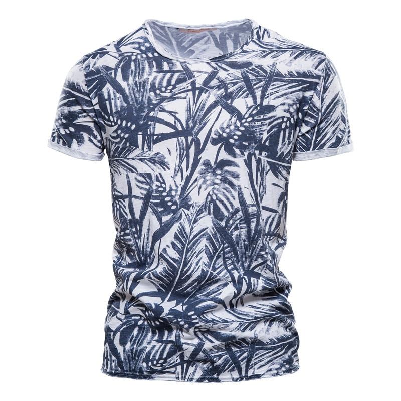 New 2021 Hawaiian style 100% cotton T-shirt men's O-neck printed shirt men's casual men's summer high-quality men's T-shirt