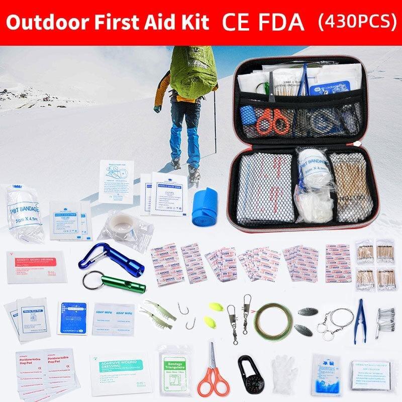 طقم إسعافات أولية مقاوم للماء لشخص أو عائلي ، للاستخدام في الهواء الطلق ، علاج البقاء على قيد الحياة الطبي في حالات الطوارئ ، السفر ، التخييم ...