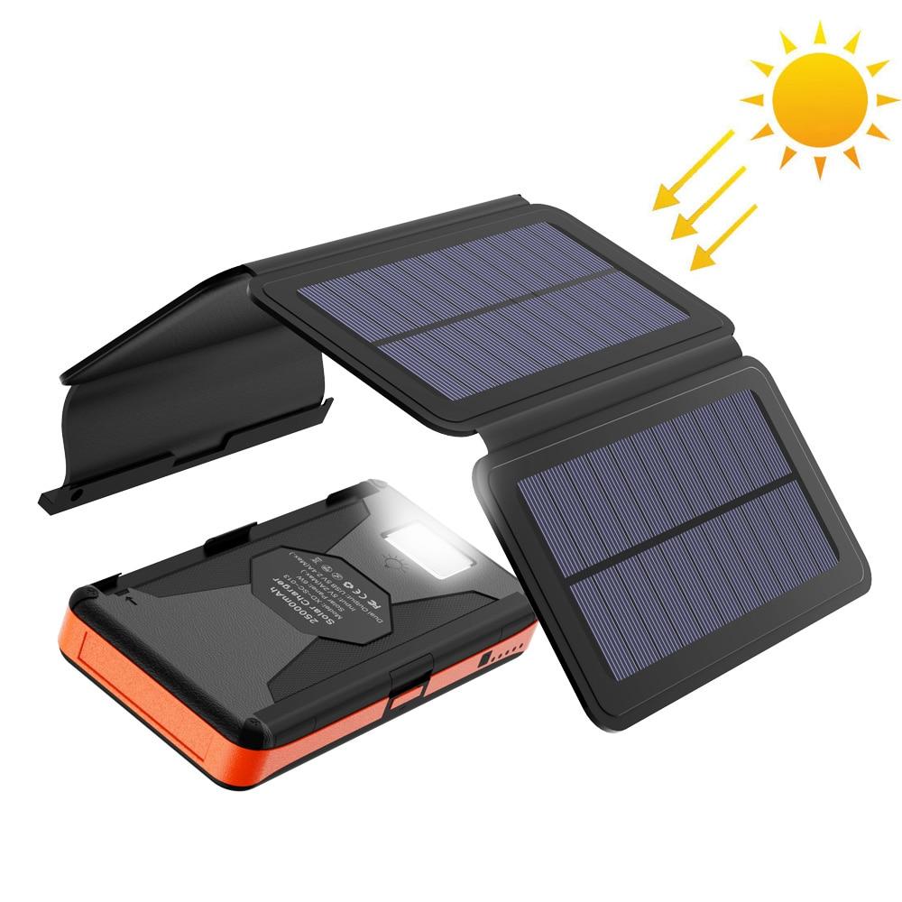 Banco de energía Solar resistente, cargador de batería externo Solar de 25000mAh, Banco de energía Solar resistente al agua con USB Dual y linterna.