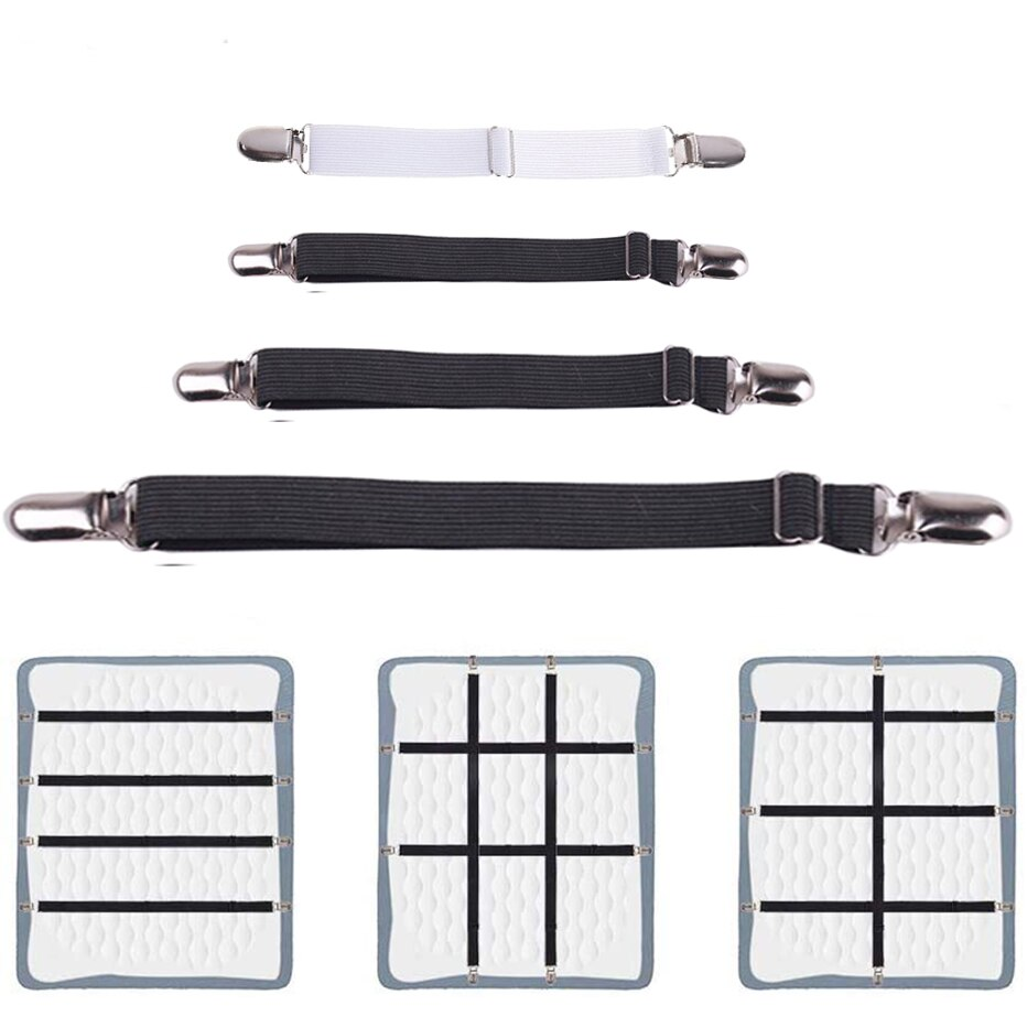 4pcs/set Elastic Bed Sheet Strip Fastener Grippers Belt Adjustable Mattress Cover Blankets Holder