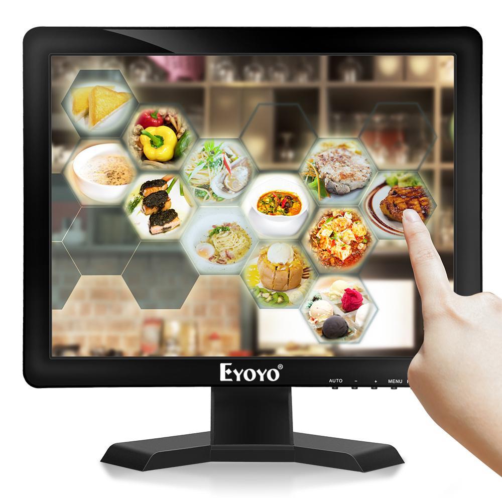 Monitor de pantalla táctil de 15 pulgadas, Monitor HDMI LED para VGA 43, pantalla 1024 × 768, altavoz incorporado para equipo Industrial POS
