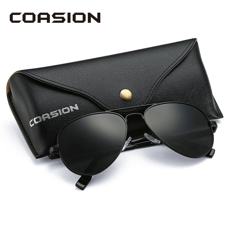 COASION gafas de sol clásicas de piloto polarizadas para hombres y mujeres 2019 marco de Metal gafas de sol lentes de espejo gafas de conducción UV400 58mm CA1095