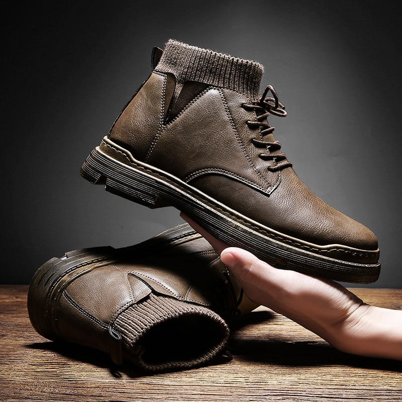 VastWave/теплые зимние мужские ботинки; Ботильоны из натуральной кожи; Мужская зимняя Рабочая обувь; Мужские зимние ботинки в стиле милитари; ...