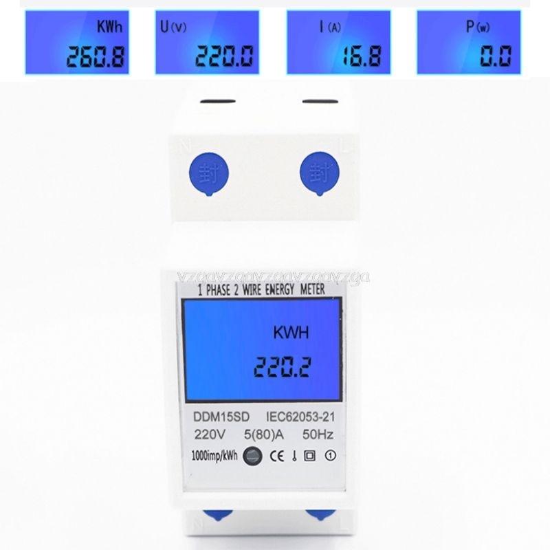 Monofásico 2 cables Din Rail 5(80A) medidor de energía medidor eléctrico Monitor DDM15SD con retroiluminación LCD N25 19 Dropship