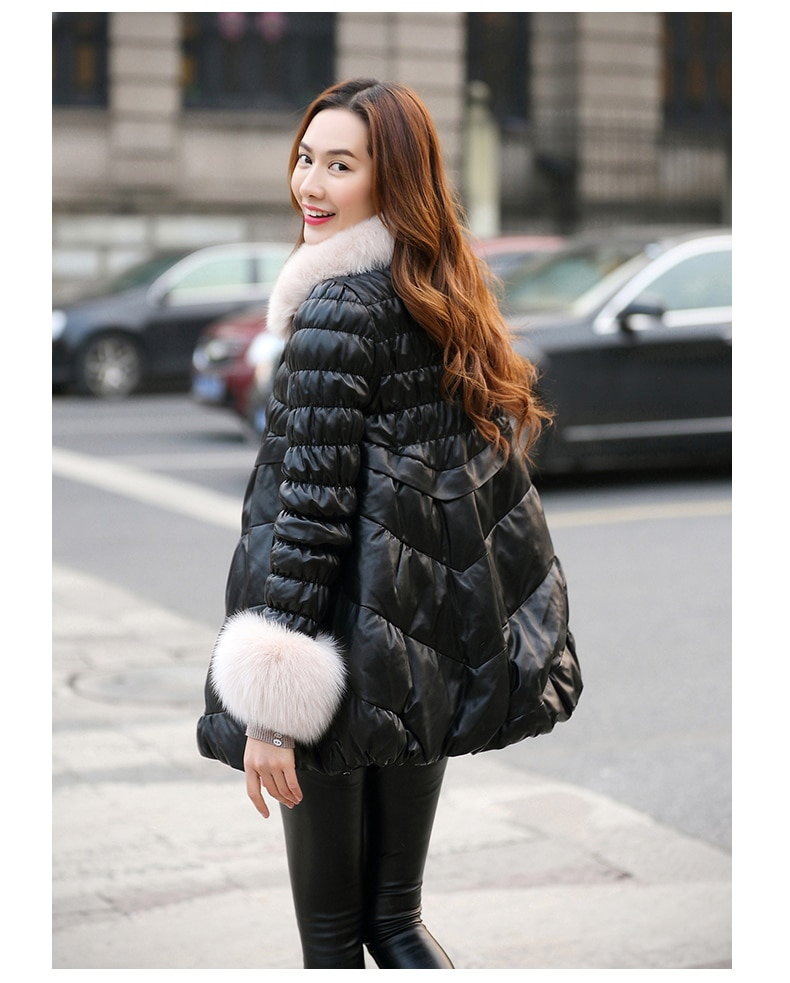 2020 Leather Jacket Winter Coat Women Fox Fur Collar Down Jacket Women Genuine Sheepskin Coat Female Warm Coats MY4418