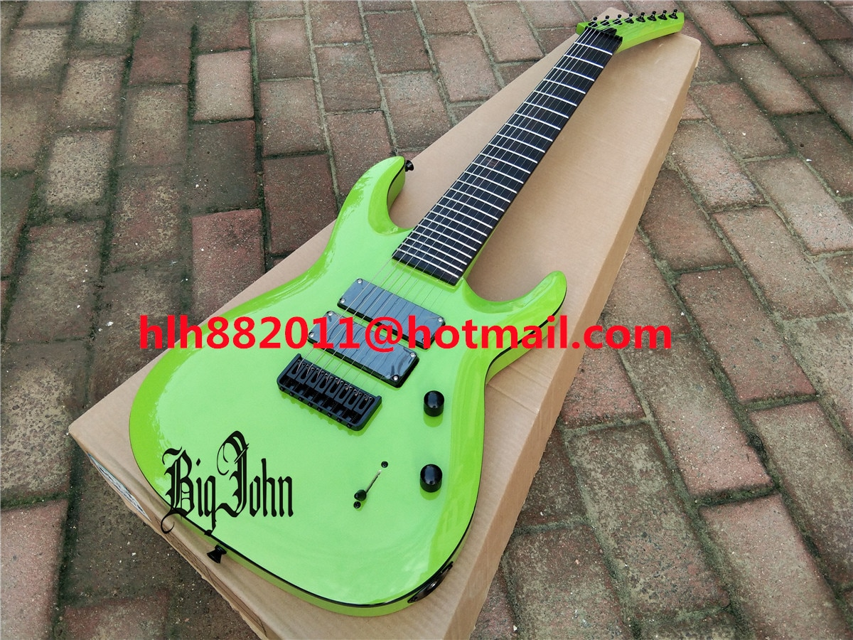 Green Neck Through Body 8 Strings Electric Guitar,Basswood Body&Rosewood Fingerboard Black Hardware HG-463