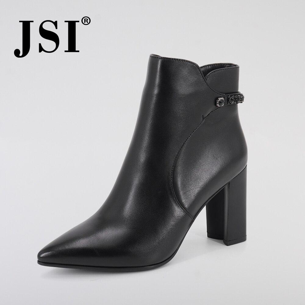 JSI Women Boots Winter Genuine Leather Pointed Toe Mid-Calf Square Heel Handmade Zipper Super High Heel Basic Boots Women JC340