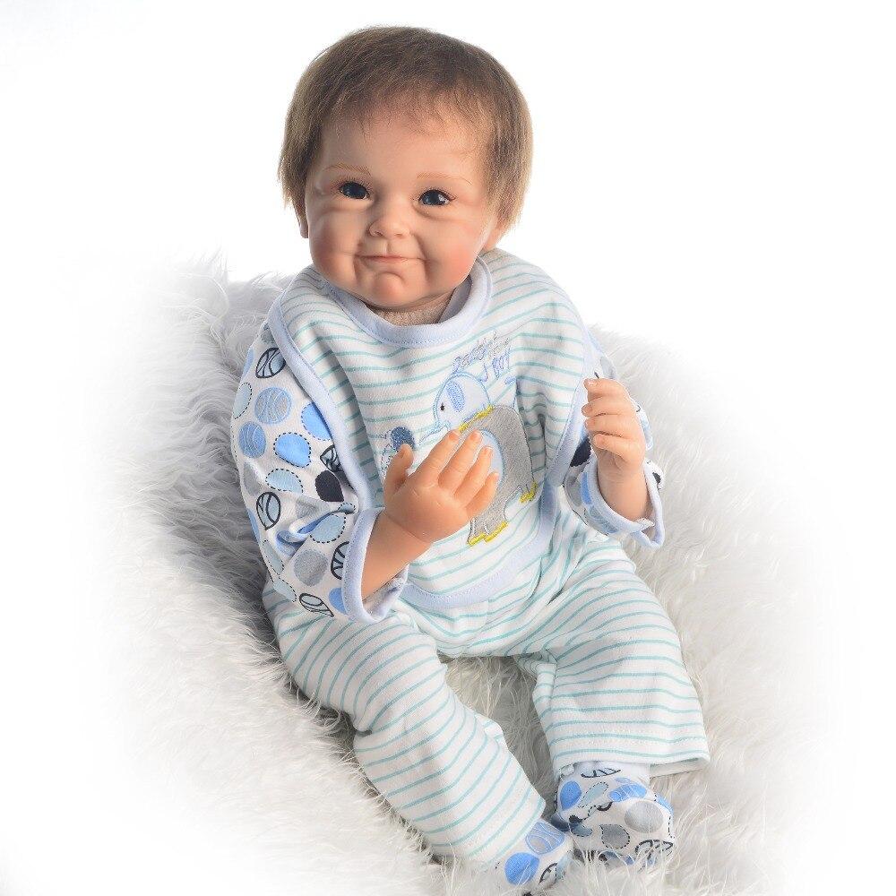 "Bebé niño renacido Real de 22 ""55cm, muñecas reborn de silicona con botella de chupete falso, ropa de moda, muñecas de regalo para niños"