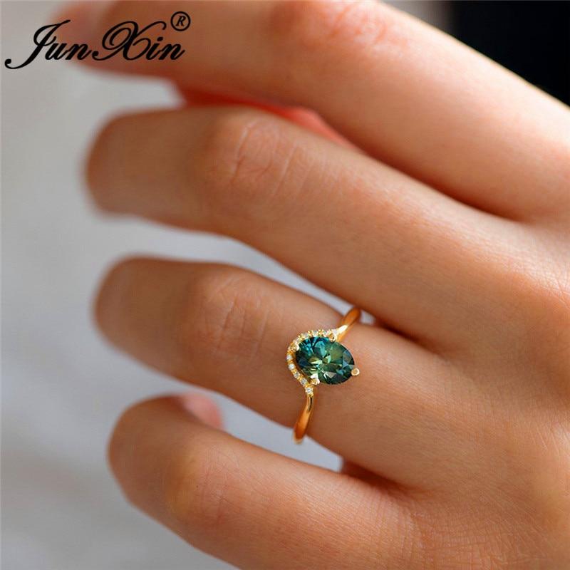 Anillos finos de cristal ovalados de piedra verde bonita para mujeres bandas de boda de oro amarillo anillo de compromiso de promesa minimalista joyería diaria CZ