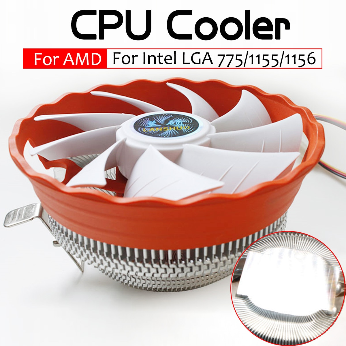 CPU Kühler Fan 12V Hydraulische Lager Kühlkörper RGB Fan Computer PC Gehäuse Kühlung Kühler für Intel LGA 775 1150 1155 1156 AMD1150