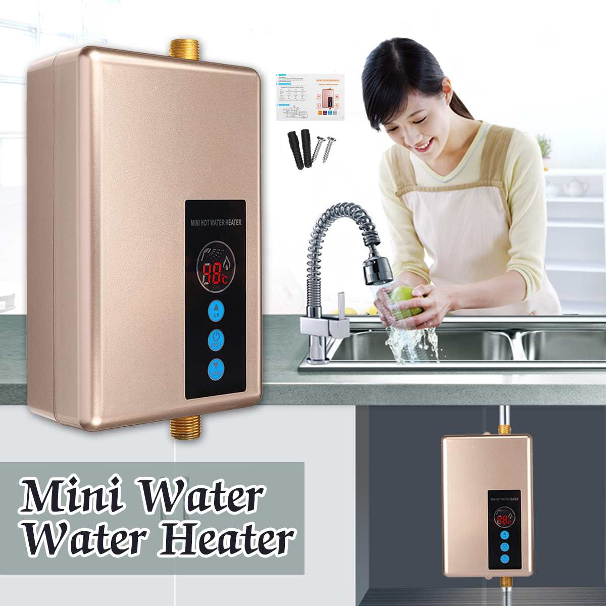 5500W 220V Mini Electric Water Heaters Instant Kitchen Fast Heating Intelligent Electric Tankless Shower Hot Water Heater