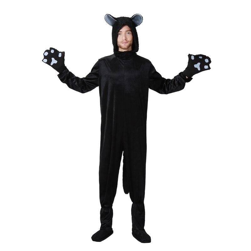 Adulto hombre gato negro mascota Fleece divertido Halloween familia disfraz Idea Animal Pokemon Cosplay Hoodie Jumpsuit de talla grande
