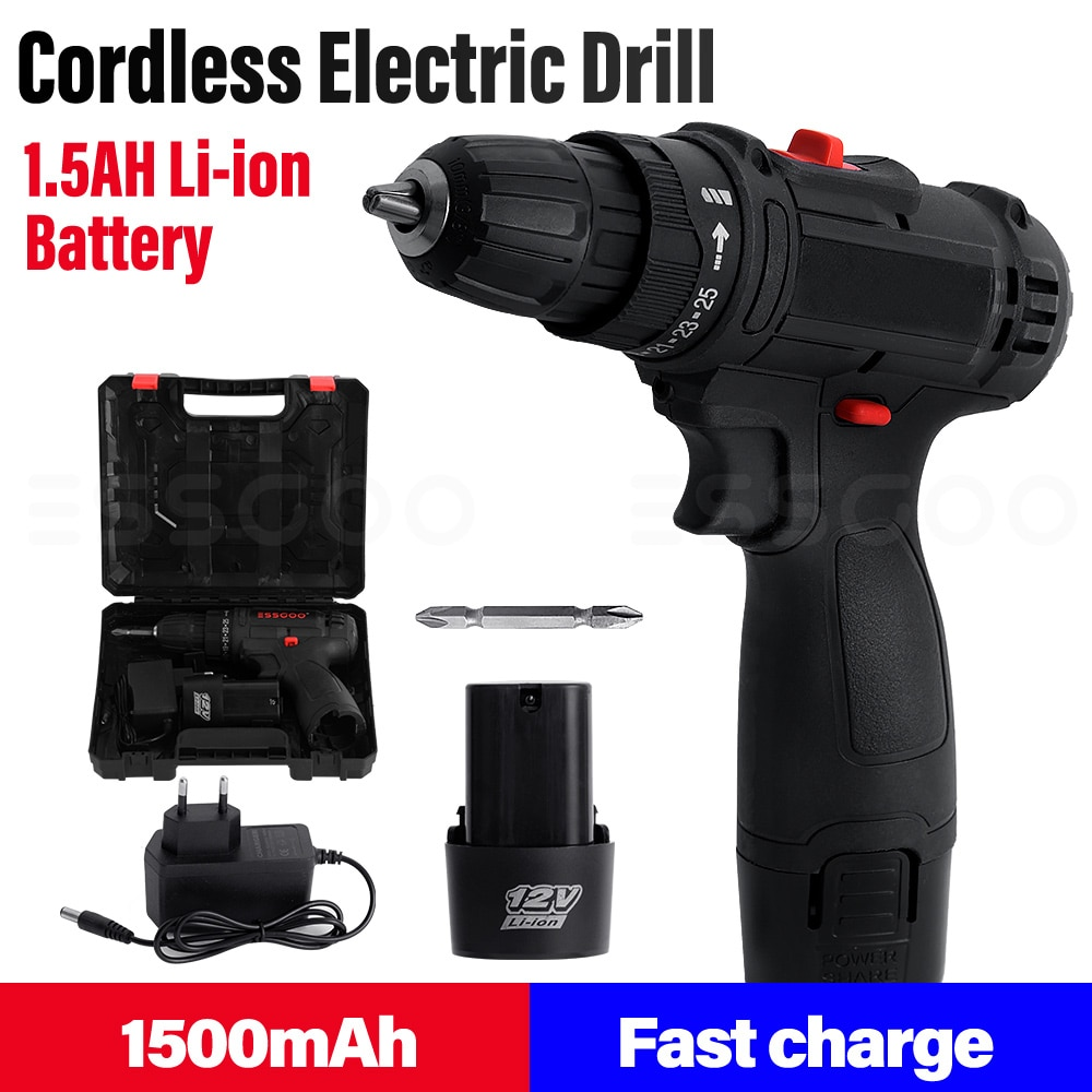 Electric Screwdriver 12V Cordless Electric Drill Portable Repair Tool Screwdriver Set 1800mAh Battery Wireless Power Tool