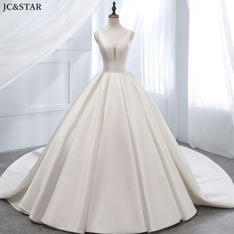 Vestido de novia de satén con cuello en V, vestido marfil, vestido...