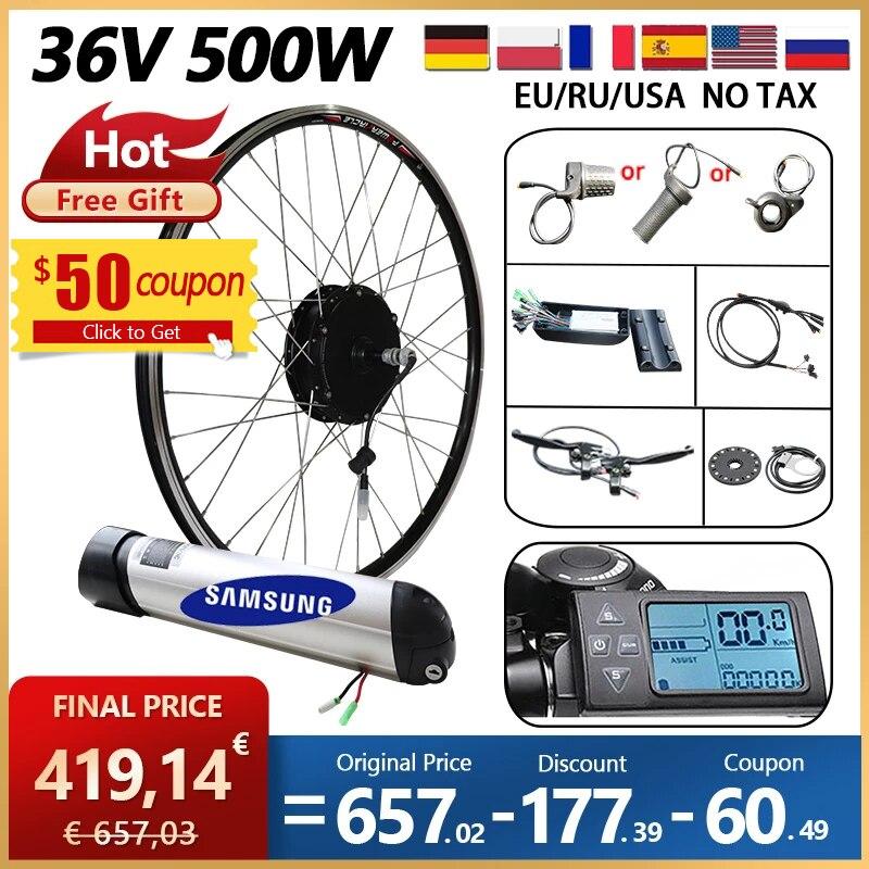 الاتحاد الأوروبي RU معفاة من الرسوم الجمركية لا ضريبة 36 فولت 500 واط eBike تحويل عدة 36V12AH سامسونج بطارية e الدراجة الكهربائية مجموعة الدراجة الأما...