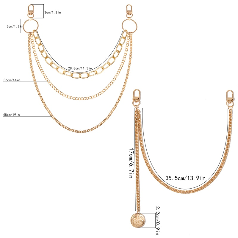1pcs Fashion Punk Hip-hop Trendy Single/Three Layer Belt Key Chain Waist Pants Chain Jeans Long Metal Clothing Accessories