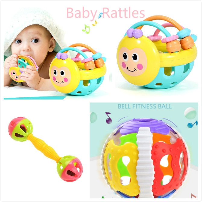 Baby Rattles Baby Toys Little Bell Ball Rattles Grasping Mobile Toy Hand Knocking Rattle Dumbbell Ea