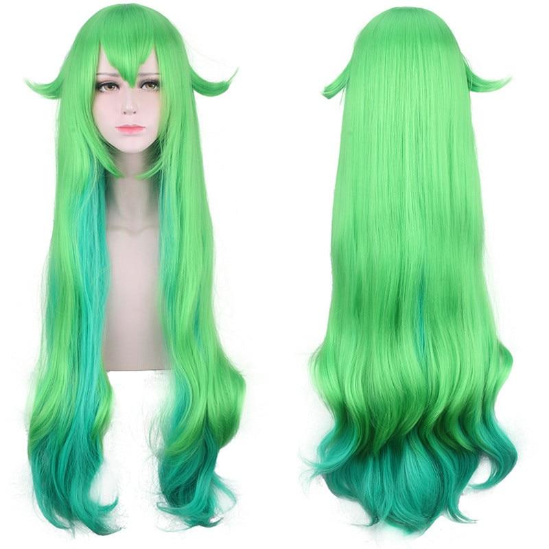 Купить с кэшбэком Cosplay  League of Legends Lulu Magic Starlight Girl Star Guardian Green and Blue Mix Wig LOL Lulu Green and Blue Mix Wig 100cm
