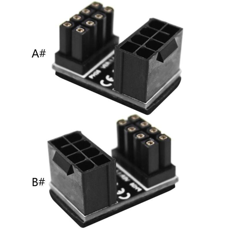 ATX 8 pin macho 180 grados en ángulo A 8 pines adaptador hembra para corriente para GPU Desktops tarjeta gráfica
