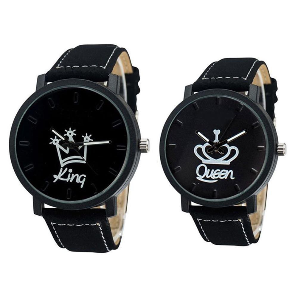 Nova moda casal rainha rei coroa fuax couro quartzo relógio de pulso analógico cronógrafo reloj mujer 2019 saat erkek kol saati