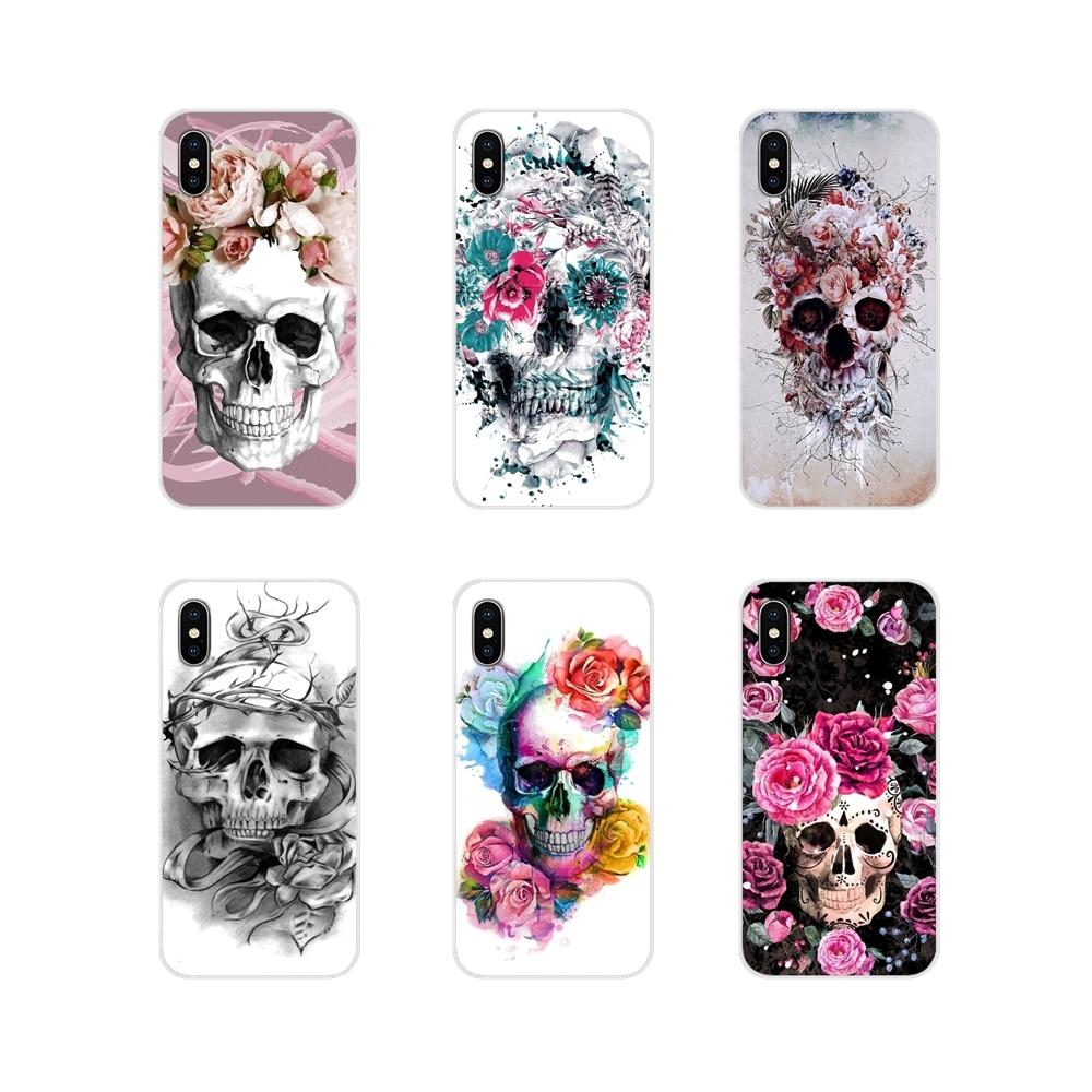 Floral azúcar cráneo tatuado para Samsung Galaxy J1 J2 J3 J4 J5 J6 J7 J8 Plus 2018 primer 2015 de 2016 2017 TPU transparente Shell caso