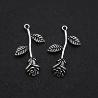 6pcslots 21x34mm antique silver plated 3d rose charms flower pendants for diy necklace jewellery crafts wholesale drop ship
