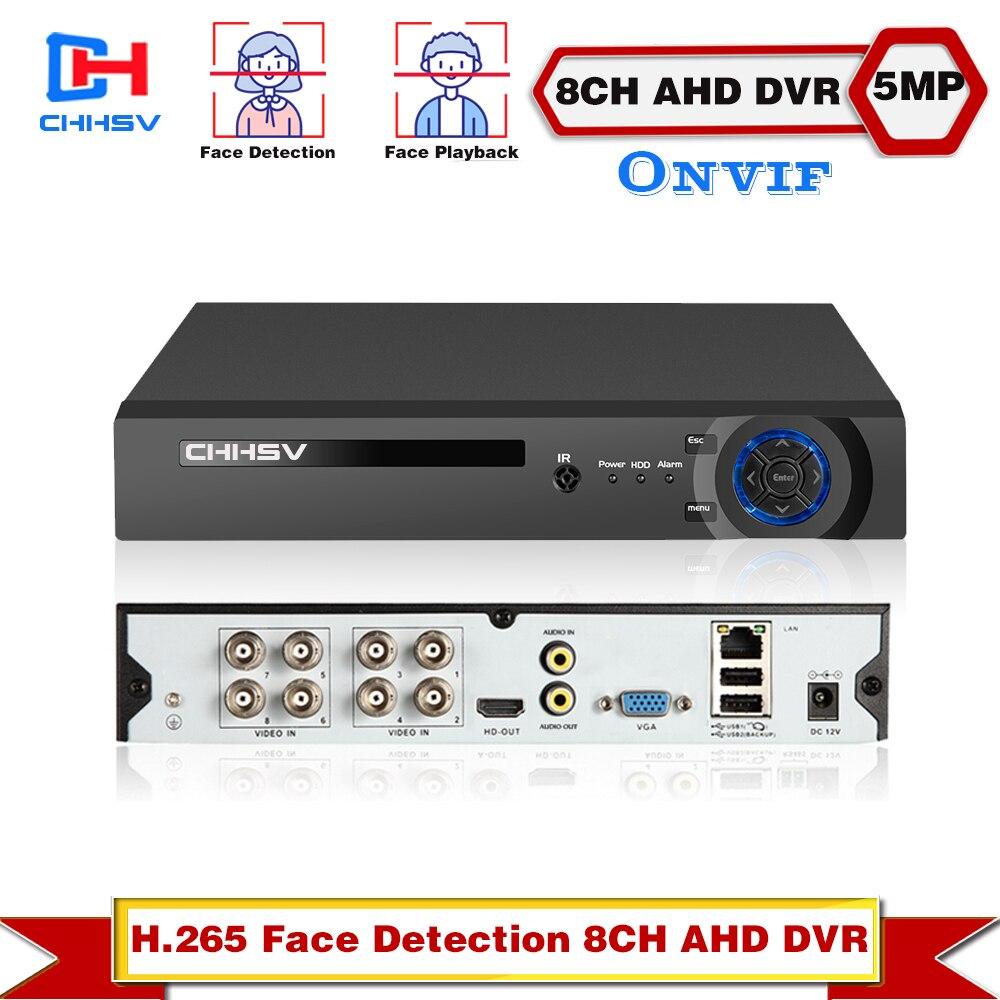 منظمة العفو الدولية كشف الوجه التعرف على الوجه جلب AHD شبكة DVR مسجل فيديو 8CH H.265 ريال 5MP DVR NVR IP كاميرا الأمن عدة