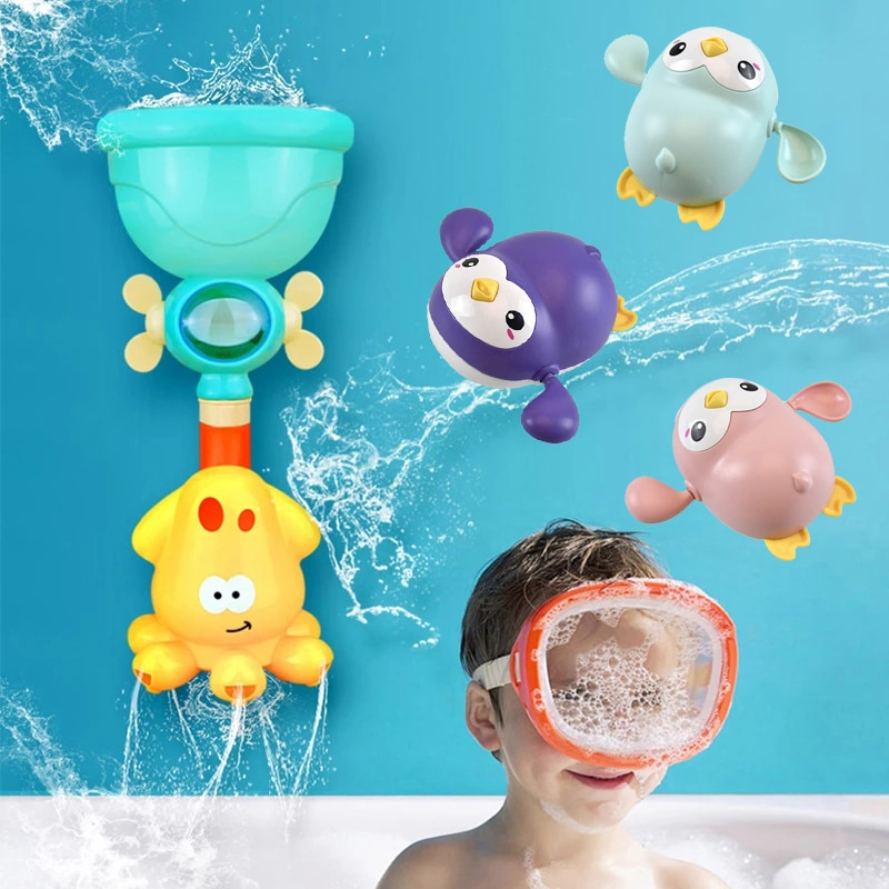 Baby Bath Toys Pipeline Water Spray Shower Game Cute Cartoon Infant Swim Chain Clockwork Toy Bathroom Bathing Shower Kids Toy baby bath toys duck clockwork educational toys swim bathing kids water swimming chain shower toy gift for newborn baby wholesale